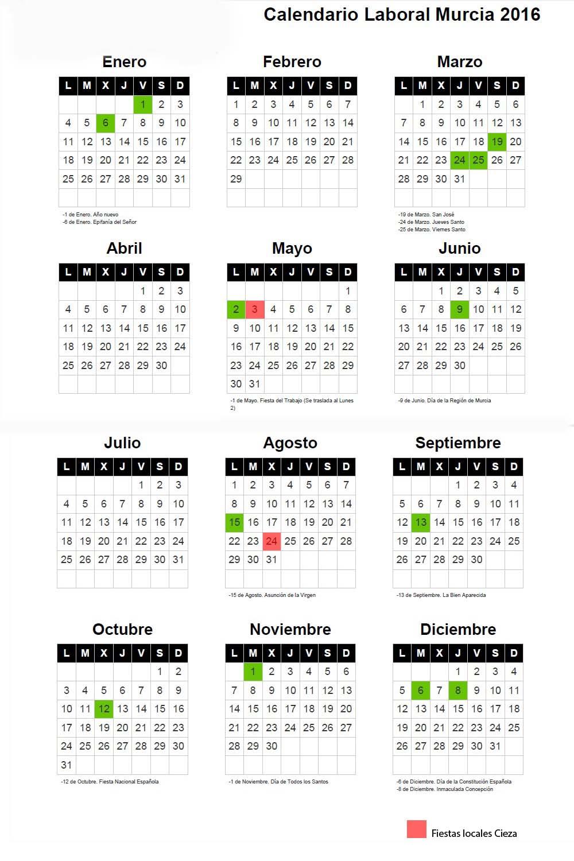 Calendario 2019 Murcia.Calendario Laboral Para 2016 Asesoria Aseryde